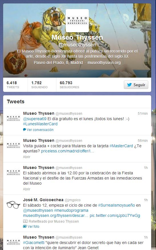 Perfil en Twitter del Museo Thyssen