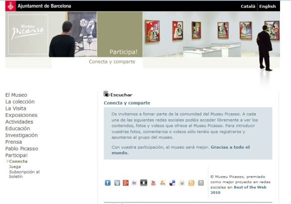 """Imagen de la sección """"Conecta"""" de la web del Museo Picasso Barcelona"""