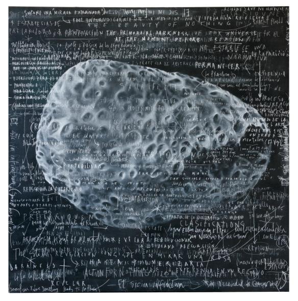 "Obra de María Edwards, ""Blackboard 7. Et sic in infinitum"", 2013."