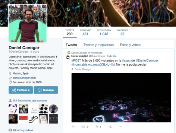 Perfil de Twitter de Daniel Canogar.